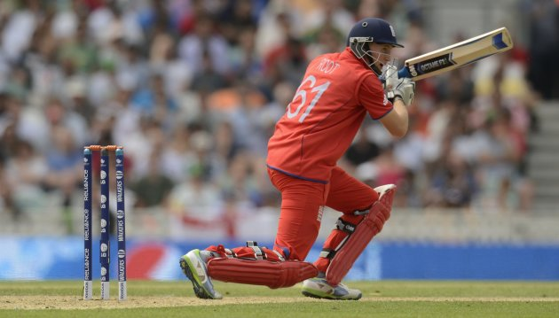 England's Root hits out during the ICC Champions Trophy semi final match against South Africa in London
