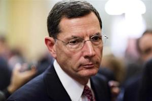 Senator John Barrasso speaks to the media after the Republican policy luncheon on Capitol Hill in Washington