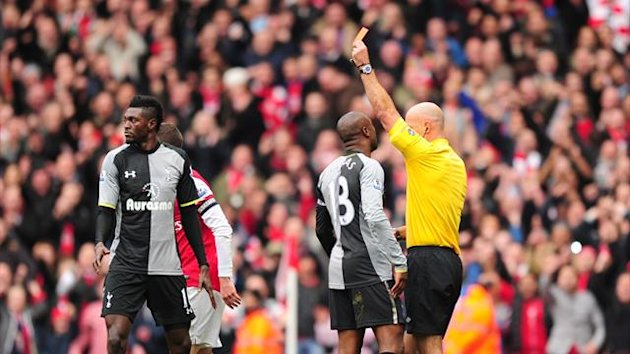 Tottenham striker Emmanuel Adebayor sees red against old club Arsenal