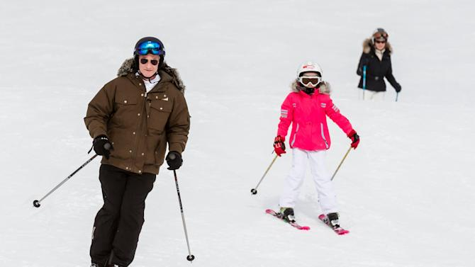 Belgium's King Philippe, Princess Eleonore and Queen Mathilde ski during their ski holidays in the village of Verbier