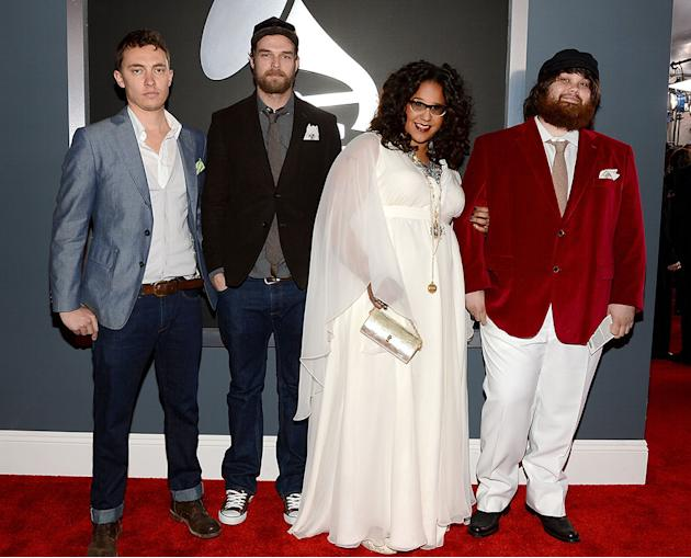 The 55th Annual GRAMMY Awards - Red Carpet: Steve Johnson, Brittany Howard, Zac Cockrell and Heath Fogg of Alabama Shakes