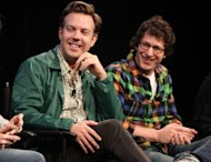 Jason Sudeikis and Andy Samberg are seen during the 2010 New Yorker Festival at Acura at SIR Stage37 in New York City on October 3, 2010  -- Getty Images