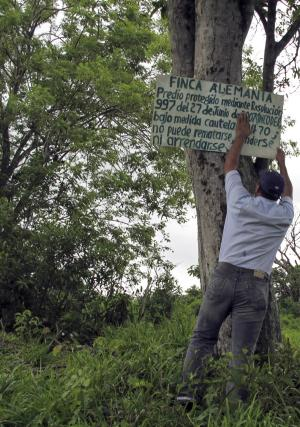 In this photo taken June 22, 2011, activist Franklin Torres straightens a sign at the entrance to the La Alemania farm that declares it is protected under a 2007 government decree from being sold because peasants claim it was stolen from them by a far-right warlord who made it his headquarters a decade ago, in San Onofre, Colombia. La Alemania is now in foreclosure and activists consider the case emblematic of the challenges of carrying out a new law that aims to redress some 4 million victims of Colombia's internal conflict. President Juan Manuel Santos has made the so-called Victims Law the centerpiece of his administration but activists are worried about his government's ability to protect them. At least 13 leaders of peasants trying to reclaim stolen land have been killed since Santos took office a year ago. (AP Photo/Frank Bajak)