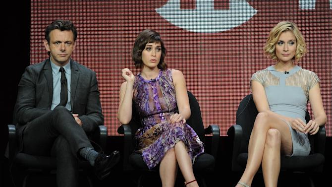 "From left, actors Michael Sheen, Lizzy Caplan and Caitlin Fitzgerald participate in the ""Masters of Sex"" panel at the 2013 Showtime Summer TCA Press Tour at the Beverly Hilton Hotel on Tuesday, July 30, 2013 in Beverly Hills, Calif. (Photo by Frank Micelotta/Invision/AP)"
