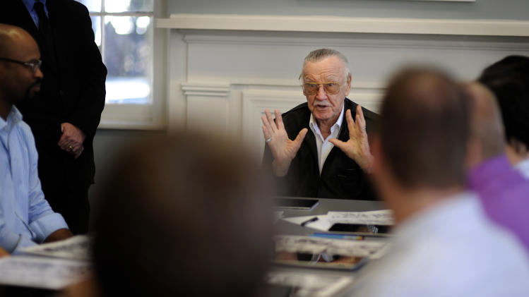 Legendary comic creator Stan Lee speaks at the Savannah College of Art and Design while visiting the college to critique some of the work by graduate and undergraduate students in the sequential art program in Savannah, Ga.,  on Wednesday, Oct. 31, 2012. Lee, the 89-year-old co-creator of Spider-Man, dropped in on the school after being honored at the SCAD Savannah Film Festival. (AP Photo/Stephen Morton)