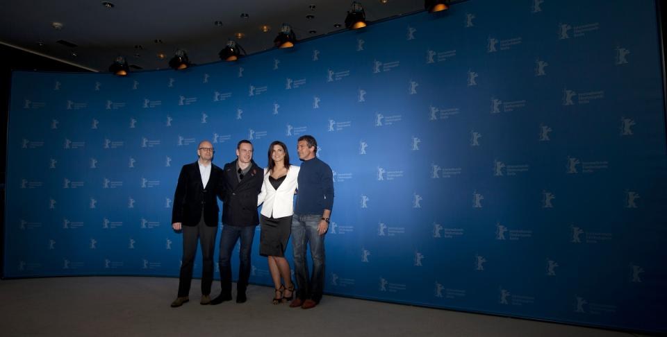 From left, director Steven Soderbergh, actors Michael Fassbender, Gina Carano and Antonio Banderas pose for the photo call of the film Haywire at the 62 edition of the Berlinale, International Film Festival in Berlin, Wednesday, Feb. 15, 2012. (AP Photo/Markus Schreiber)