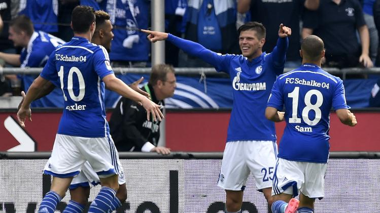 Schalke 04's Huntelaar celebrates with his team mates after scoring during their German Bundesliga first division soccer match against Hanover 96 in Hanover,
