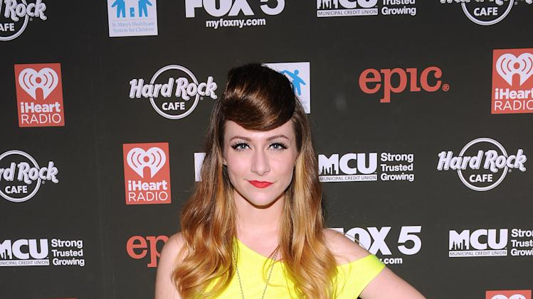 Amy Heidemann of Karmin arrives at Hard Rock Rocks Times Square, on Thursday, Oct. 4, 2012 in New York. (Photo by Scott Gries/Invision for Hard Rock/AP Images)