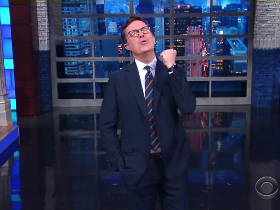 Stephen Colbert mocks Mitt Romney's dinner with Trump: 'It looks like he's eating crow'