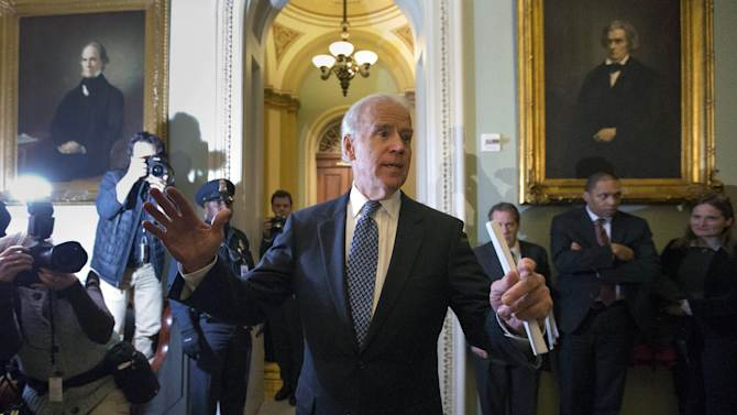 Vice President Joe Biden speaks to reporters after a Senate Democratic caucus meeting about the fiscal cliff, on Capitol Hill on Monday, Dec. 31, 2012 in Washington. (AP Photo/Alex Brandon)