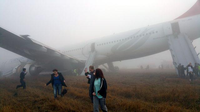 Footage Of Turkish Airlines Plane After Crash Landing At Airport