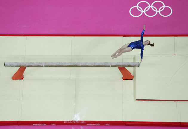 Gymnast Jennifer Pinches from Britain performs on the balance beam during the Artistic Gymnastic women's team final at the 2012 Summer Olympics, Tuesday, July 31, 2012, in London. (AP Photo/Julie Jacobson)