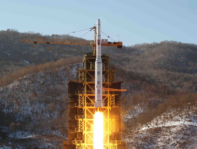 FILE - In this Dec. 12, 2012 file photo released by Korean Central News Agency, North Korea's Unha-3 rocket lifts off from the Sohae launch pad in Tongchang-ri, North Korea. The U.N. Security Council