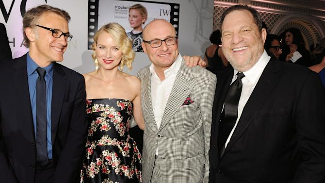 """DISTRIBUTED FOR IWC - (L-R) Actors Christoph Waltz, Naomi Watts, IWC CEO Georges Kern and film producer Harvey Weinstein attend the exclusive """"For The Love Of Cinema"""" event hosted by Swiss luxury watch manufacturer IWC Schaffhausen at the Hotel du Cap-Eden-Rocin in Antibe, France, on Sunday, May 19, 2013. (David M. Benett for IWC/Photopress via AP Images)"""