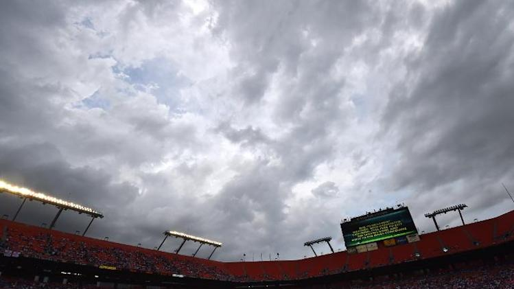 The teams of England and Honduras leave the field after the referee stopped their friendly football game due to lightening at Miami Sun Life Stadium in Miami Gardens, Florida on June 7, 2014