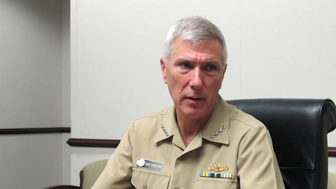 Adm. Samuel Locklear III, the U.S. Pacific Command commander, speaks to reporters at his headquarters in Camp H.M. Smith, Hawaii on Wednesday, July 25, 2012. Locklear says he's seeing positive signs as he tries to develop ties between the U.S. and Chinese militaries. (AP Photo/Audrey McAvoy)