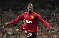 Manchester United's striker Danny Welbeck celebrates after scoring during the UEFA Champions League round of 16 first leg football match Real Madrid CF vs Manchester United FC at the Santiago Bernabeu stadium in Madrid on February 13, 2013. The match ended in a 1-1 draw