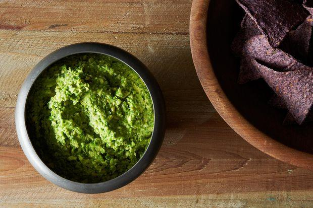 Smashed Pea Guacamole with Cilantro, Ginger, and Lime