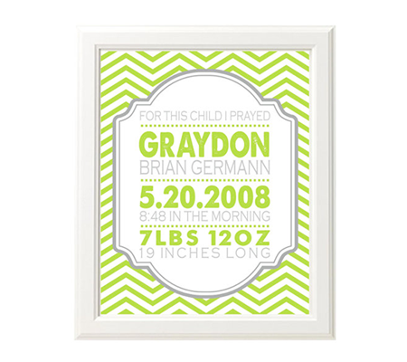 Modern Custom Chevron Birth Announcement Nursery Print