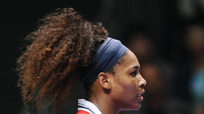 Serena Williams of the U.S. reacts during her tennis match against Na Li of China on the second day of the WTA championship in Istanbul, Turkey, Wednesday, Oct. 24, 2012. (AP Photo)
