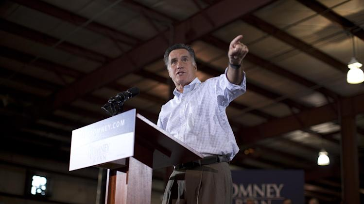 Republican presidential candidate, former Massachusetts Gov. Mitt Romney speaks during a campaign stop at LeClaire Manufacturing on Wednesday, Aug. 22, 2012 in Bettendorf, Iowa  (AP Photo/Evan Vucci)