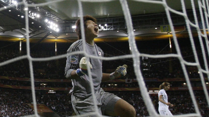 Japan goalkeeper Ayumi Kaihori reacts after making a save on a penalty shot during the final match between Japan and the United States at the Women's Soccer World Cup in Frankfurt, Germany, Sunday, July 17, 2011. The Japanese women's soccer team won their first World Cup Sunday after defeating USA in a penalty shoot-out.(AP Photo/Frank Augstein)