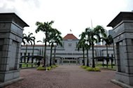 This file photo shows the entrance to the Parliament House compound in Singapore, pictured on January 4, 2012. Singapore's parliamentary Speaker has announced his resignation after admitting an extramarital affair, in the latest sex scandal to hit the city-state, according to local media