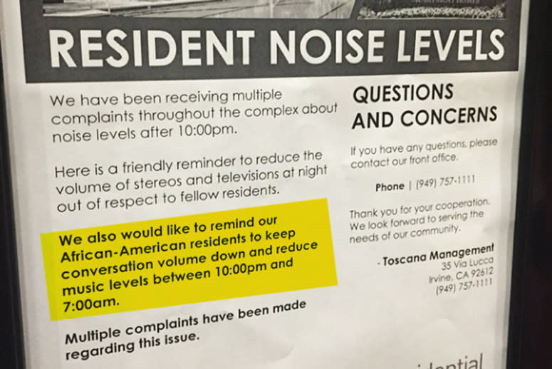 Apartment Fliers Advise Black Residents to Keep Quiet