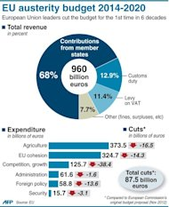 Graphic showing the EU's austerity budget for 2014-2020. Pushed by British Prime Minister David Cameron, who said the EU could not increase spending while many of its members were forced to slash their national budgets, leaders agreed a cut of around three percent compared with the 2007-13 budget