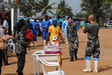 Liberia's last known Ebola patient Yardolo arrives at a Chinese Ebola treatment unit, where she was treated, in Monrovia