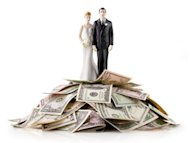married couple with pile of money