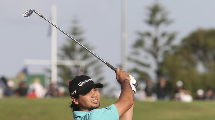 Australia's Jason Day plays a shot on the 10th fairway during the second round of the Australian Open golf tournament in Sydney, Australia, Friday, Nov. 11, 2011. (AP Photo/Rob Griffith)