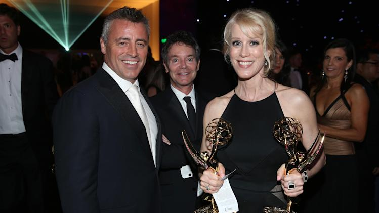 Matt LeBlanc, left, and Moira Walley-Beckett attend the Governors Ball at the 66th Primetime Emmy Awards at the Nokia Theatre L.A. Live on Monday, Aug. 25, 2014, in Los Angeles. (Photo by Matt Sayles/Invision for the Television Academy/AP Images)