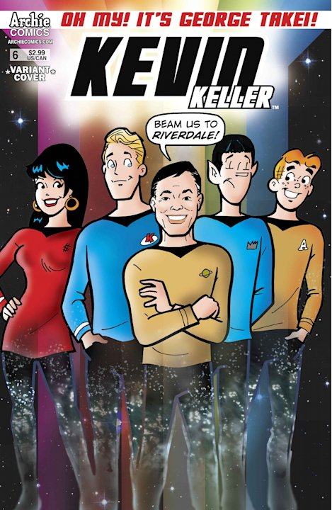 "This comic book cover released by Archie Comics shows an animated depiction of George Takei as Mr. Sulu from ""Star Trek,"" center, with Archie characters for issue No. 6 of Archie Comics' ""Kevin Keller"