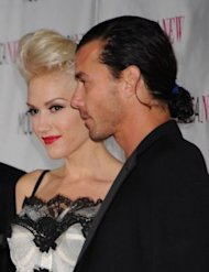 Gavin Rossdale rocking a ponytail at an event with his wife, Gwen Stefani