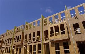 New townhouses under construction are seen in Fairfax, Virginia, just outside of the capital Washington