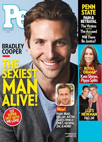 "In this cover image released by People, actor Bradley Cooper is shown on the cover of the special ""sexiest man alive,"" issue, available on newsstands on Friday, Nov. 18, 2011. (AP Photo/People)"