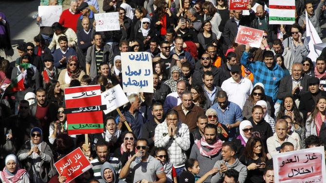 Jordanian protesters take part in a march against a government agreement to import natural gas from Israel, in Amman