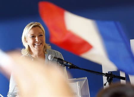 Marine Le Pen, France's National Front political party leader, delivers a speech at the party's weekend summer university youth meeting in Frejus