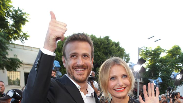 Screen Writer Jason Segel and Cameron Diaz seen at Columbia Pictures 'Sex Tape' World Premiere held at Regency Village Theatre, on Thursday, July 10, 2014, in Westwood, Calif. (Photo by Eric Charbonneau/Invision for Sony Pictures/AP Images)