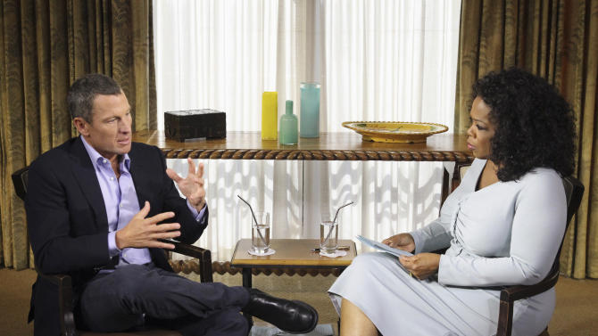 FILE - In this Monday, Jan. 14, 2013, file photo provided by Harpo Studios Inc., talk show host Oprah Winfrey, right, interviews Lance Armstrong during taping for the show