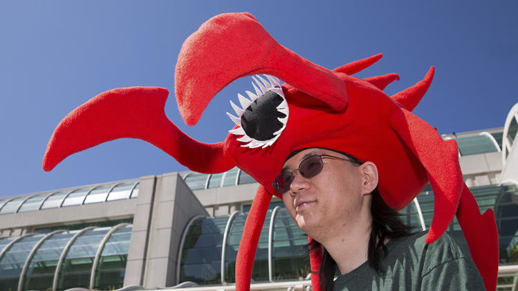 John Masuzumi wears hellbug hat during the 2013 Comic-Con in San Diego