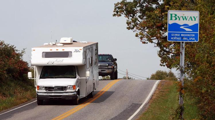 This undated image from Go RVing shows a motorhome on the George Washington Heritage Trail spur in the Eastern Panhandle of West Virginia. Fluctuations in gas prices don't keep RV drivers home, though when prices are high, they may travel less and stay closer to home. (AP Photo/Go RVing)