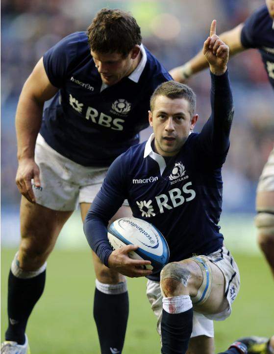 Scotland's Greig Laidlaw celebrates his try against Japan during their rugby union match in Edinburgh