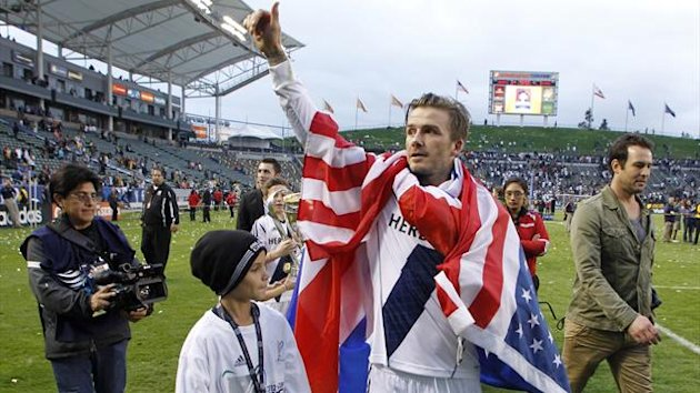 David Beckham waves goodbye after his final match for LA Galaxy