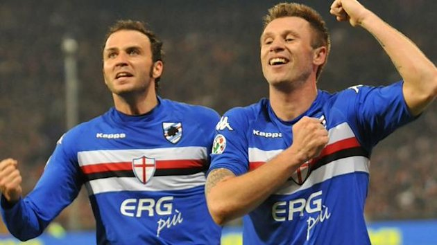 Forward Antonio Cassano (R) of UC Sampdoria celebrates with team mate Giampaolo Pazzini adter scoring against Genoa CFC during the Italian Serie A local derby soccer match, UC Sampdoria vs Genoa CFC, in the Luigi Ferraris stadium, Genoa, Italy