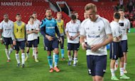 Tottenham Hotspur players leave dejected after Manchester United win the Barclays Premier League Under 21 Final at Old Trafford, Manchester.