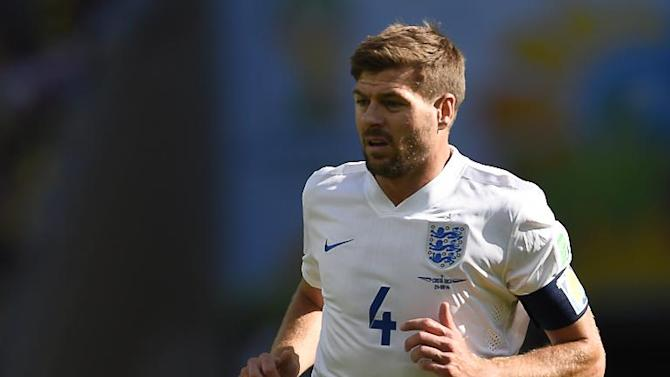 Steven Gerrard runs on the pitch during the World Cup match between Costa Rica and England in Belo Horizonte on June 24, 2014