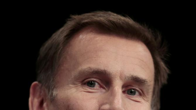Britain's Health Secretary Hunt speaks at the Conservative Party Conference in Manchester, Britain