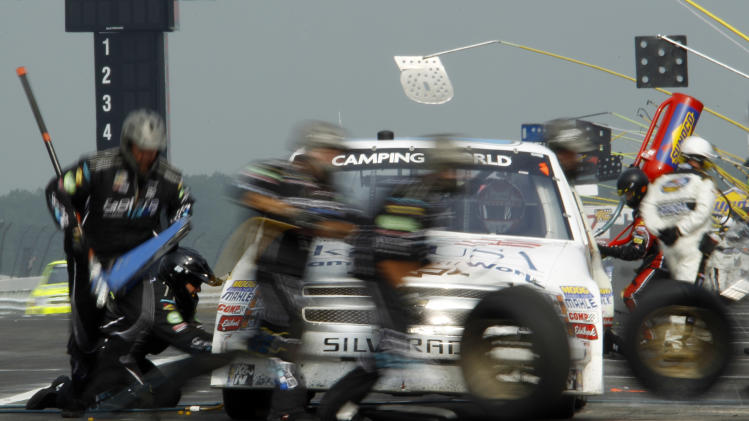 Peyton Sellers pits during the NASCAR Camping World Truck Series auto race, Sunday, Aug. 7, 2011, at Pocono Raceway in Long Pond, Pa. (AP Photo/Matt Slocum)